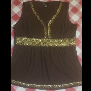 Style  & Co dress tank top with gold embroidered